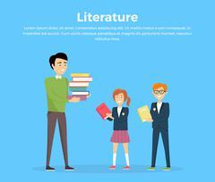 Literature Reading Concept Vector Illustration Stock Illustration