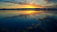 Nice landscape with sunset on lake Stock Footage