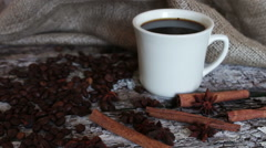White cup full of fragrant hot coffee Stock Footage