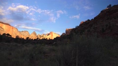 First ligh dawn, Zion National park, landscape Stock Footage