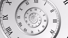 Spiral Clock Seamless Infinite Zoom Motion Background Version 1 Silver Stock Footage