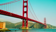 Time Lapse - Look-up View of Golden Gate Bridge in San Francisco Stock Footage