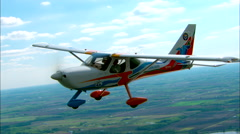 EAA Young Eagles Airplane Air to Air Straight Level Stock Footage