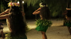 Three native Tahitian hula dancers perform in sync Stock Footage