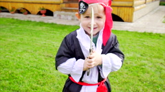 Little boy in pirate costume on Halloween party Stock Footage