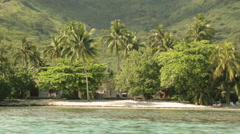 Moorea coast filmed from fast moving speed boat. Closeup zooms out to wide  Stock Footage