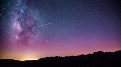 Time Lapse - Beautiful Milky Way Galaxy above Mountain Range Stock Footage