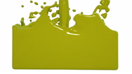 Yellow paint splashes filling a container. Colored paint Stock Footage