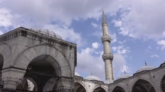 Courtyard area of the Blue mosque in Istanbul city. Turkey in 4K Stock Footage