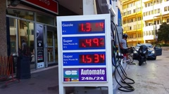Fuel Price Sign At Esso Gas Station Stock Footage