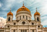 Cathedral of Christ the Saviour, iconic landmark in Moscow, Russia Stock Photos