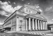 The iconic Bolshoi Theatre, sightseeing and landmark in Moscow, Russia Stock Photos