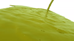 Yellow liquid flow falls down fills background. Colored paint Stock Footage