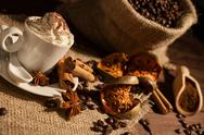 Close-up of a cup of coffee with whipped cream Stock Photos