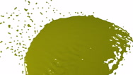 Yellow fluid stream hits a surface. Colored paint Stock Footage