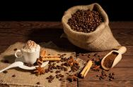 Coffee with whipped cream and cocoa powder Stock Photos