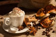 Close-up of coffee with whipped cream and cocoa powder Stock Photos