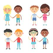 Kids holding hands vector Stock Illustration