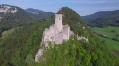 CINEMATIC REVERSE AERIAL TILT UP SHOT OF RUINE NEU-FALKENSTEIN CASTLE Stock Footage