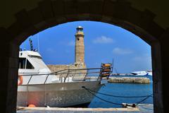 Rethymno lighthouse landmark Stock Photos