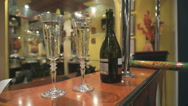 Two Flutes with Sparkling Wine over Holiday Stock Footage