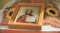 Icon of Jesus Christ is on the wedding handbrake Stock Footage