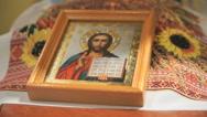 Icon of Jesus Christ is on the wedding handbrake Stock Footage