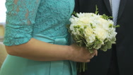Bride and groom standing in the wedding hall Stock Footage