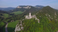 POINT OF INTEREST FLY AROUND OF CASTLE RUINS IN SWITZERLAND Stock Footage