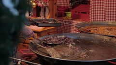Budapest, Christmas roast in an outdoor cafe. Stock Footage