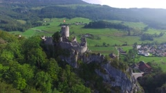 CINEMATIC TILT UP OF RUINE NEU-FALKENSTEIN CASTLE SWITZERLAND Stock Footage