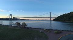 4K, Aerial view on Washington bridge in early autumn time Arkistovideo