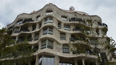 Barcelona, Spain - September 2016 : Casa Mila – La Pedrera façade by Gaudi Stock Footage