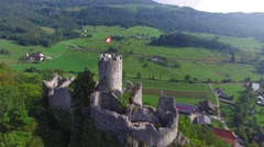 EPIC REVERSE REVEAL SHOT OF ANCIENT RUINE NEU-FALKENSTEIN CASTLE Stock Footage