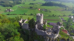 CINEMATIC OVERHEAD TILT SHOT OF RUINE NEU-FALKENSTEIN CASTLE Stock Footage