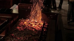 Christmas sparks and embers. Brazier. Stock Footage