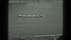 1951: transport barge ship going upriver in scenic area GERMANY Stock Footage
