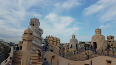 Barcelona, Spain - September 2016: Tourists at La Pedrera Casa Mila rooftops. Stock Footage