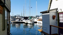 4K Houseboats and Sailing Boats Moored at Fisherman's Wharf Victoria BC Canada Stock Footage