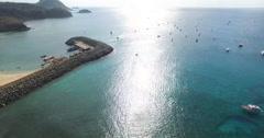 4K Harbor of Fernando de Noronha, Brazil. Aerial view.  Paradise. Stock Footage