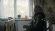 Side view of elderly woman petting cat in window Stock Footage