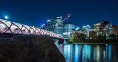 Motion Time Lapse of the Peace Bridge at night in Calgary, Alberta. Stock Footage