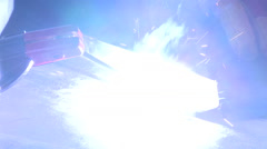 Close-up of sparks from running drill Stock Footage