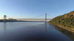 4K, Reflections and Aerial view on Washington bridge Arkistovideo
