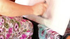 Weaving Carpet in Turkey Stock Footage