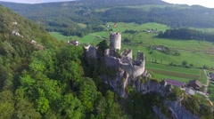 CINEMATIC AERIAL POINT OF INTEREST SHOT RUINE NEU-FALKENSTEIN CASTLE Stock Footage