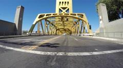 Tower Bridge Sacramento River Car Mount Driving Shot Stock Footage