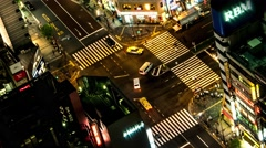 Tokyo - Aerial night view of junction with traffic and people. 4K Stock Footage
