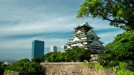 Osaka Castle in evening light. 4K resolution time lapse. Stock Footage