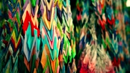 Thousand Origami Cranes at Nanzoin buddhist temple. Point of view close up Stock Footage
